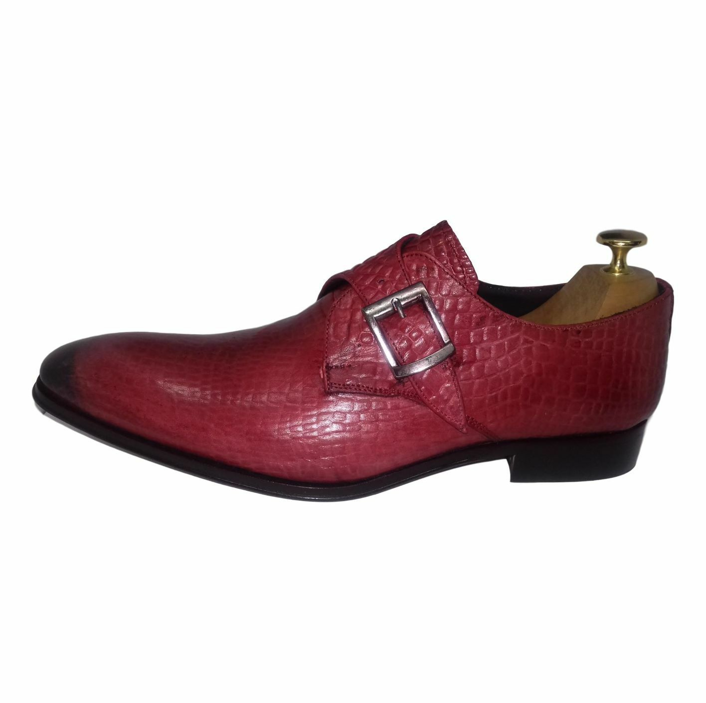 CHAUSSURE ITALIENNE A BOUCLE LUXE HOMME NEUF CUIR FAÇON CROCO rojo