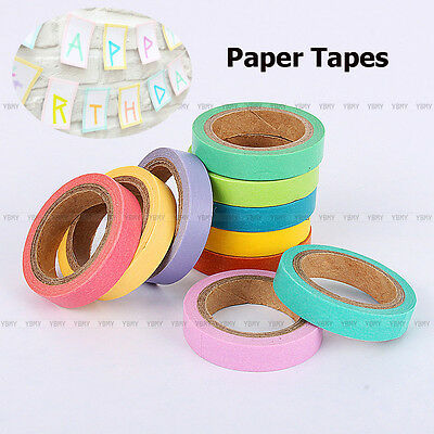 10 Roll Washi Paper Tape DIY Decorative Adhesive Sticker Rainbow Candy Scrapbook