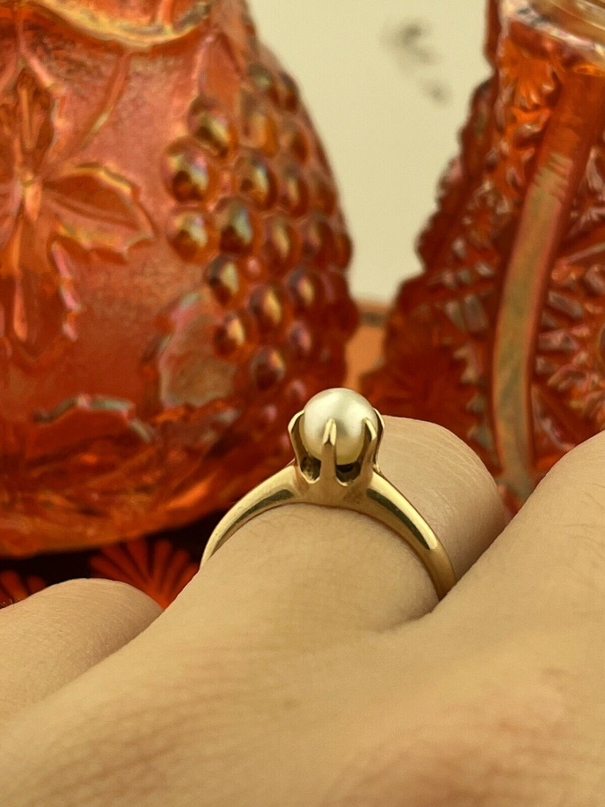 14k Solid Yellow Gold Solitaire Genuine Pearl ring - image 4