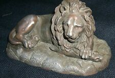 """Antique cast bronze copper Lion statue  French Valton Handsome    6 """""""