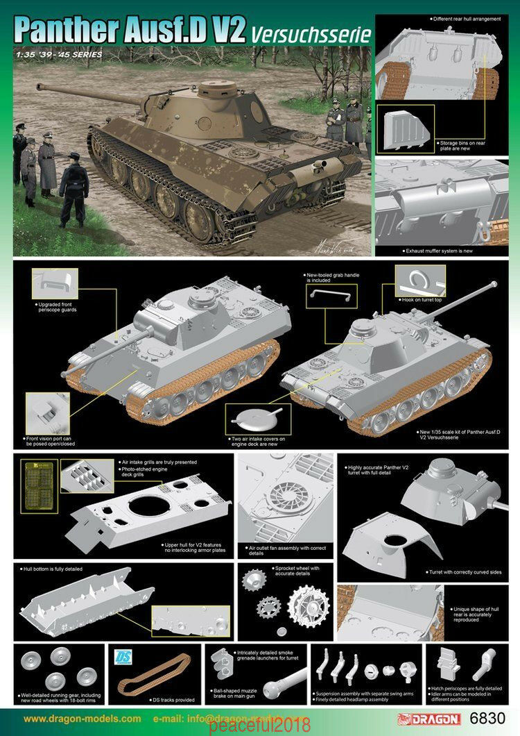 Dragon 6830  1 35 Panther Ausf.D V2 Versuchsserie Model