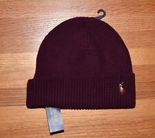POLO RALPH LAUREN Signature Merino Cuffed Beanie Cap Hat Aged Wine Red New NWT