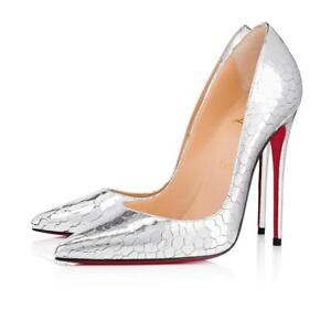 3742b024c71 Details about Christian Louboutin SO KATE Metallic Leather Mirror Pump Heel  Shoes Silver $775