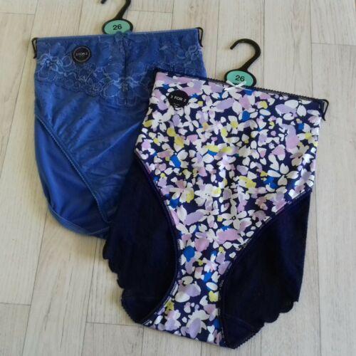 M/&S Size 26 High Leg Knickers Pants Blue /& Multicolour underwear BNWT