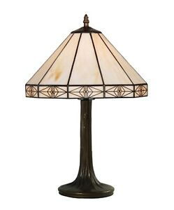 Details About Portland Modern Tiffany Style Cream Stained Gl Table Lamp Height 48cm