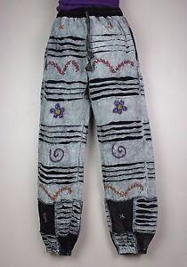 casual lacci Boho tiepida Pant in a S6 righe Hippy lavato Pantaloni pietra Festival Combat con pnqw4aXxZ