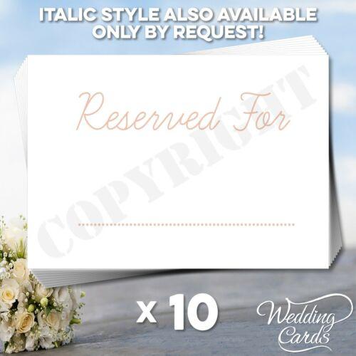 10 x réservés signe seating nom lieu carte mariage anniversaire baptême