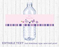 Pink & Purple Butterfly Water Bottle Labels Printable Editable PDF