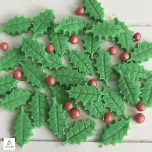 image is loading 25 edible christmas holly leaves berries sugar cake - Christmas Holly Decorations