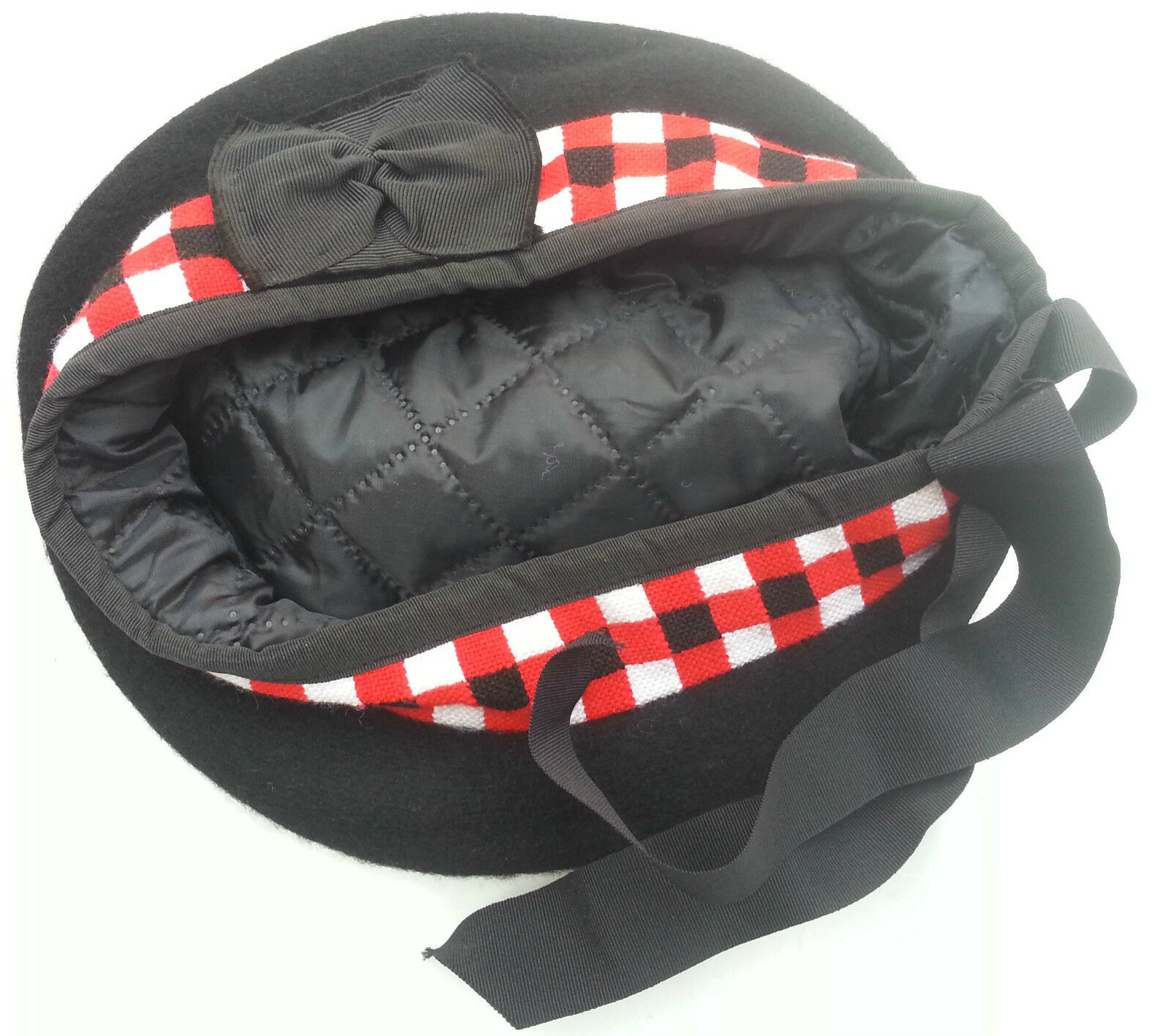BALMORAL SCOTTISH DICED BLACK ACRYLIC WOOL HAT CAP/Highland Balmoral Cap