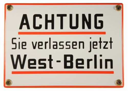Emaille Schild Achtung Sie verlassen jetzt West Berlin 17x12cm neu Blech Metall