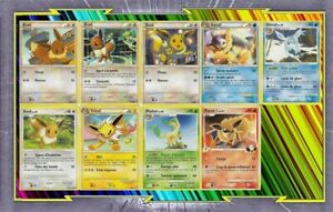 Lot-de-9-cartes-Evoli-Et-Evolutions-differentes-Francaises-Neuves-Pokemon