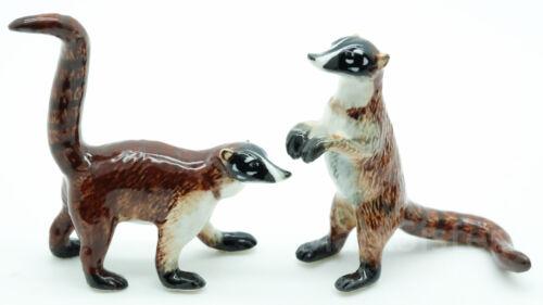 CFX021 2 Coatimundi Red Raccoon Panda Bear Ceramic Figurine Animal Statue
