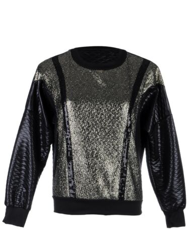 Fashion S//M Fit Black Front Silver Black Embellishments Long Sleeve Jacket