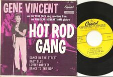 GENE VINCENT Hot Rod Gang 7'' EP R&R orig YELLOW LABEL PROMO! w/ Picture cover!!