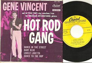 GENE-VINCENT-Hot-Rod-Gang-7-039-039-EP-R-amp-R-orig-YELLOW-LABEL-PROMO-w-Picture-cover