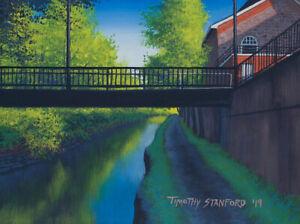 Mini Original Acrylic Painting Pedestrian Bridge 9x12 by Timothy Stanford