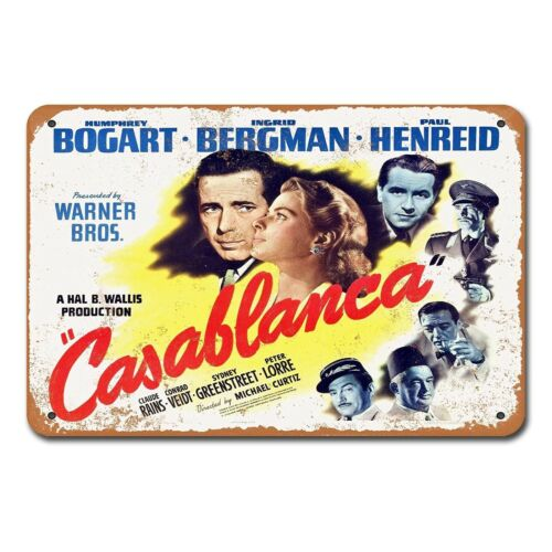 1942 Casablanca Movie Film Vintage Tin Sign Metal Decor Metal Sign Metal Poster