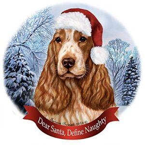 Cocker Spaniel Dog with Red Hat Fine Porcelain Christmas Ornament DNC Brand