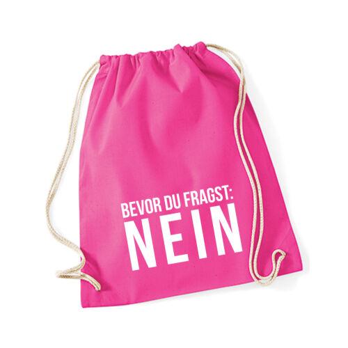 """Baumwoll Turnbeutel mit Spruch Motiv /"""" NEIN /"""" Tasche Gym Bag"""