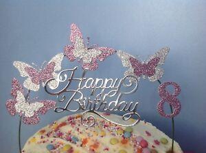 Cool Dusky Pink Silver Birthday Cake Decoration Glitter Butterfly Funny Birthday Cards Online Amentibdeldamsfinfo