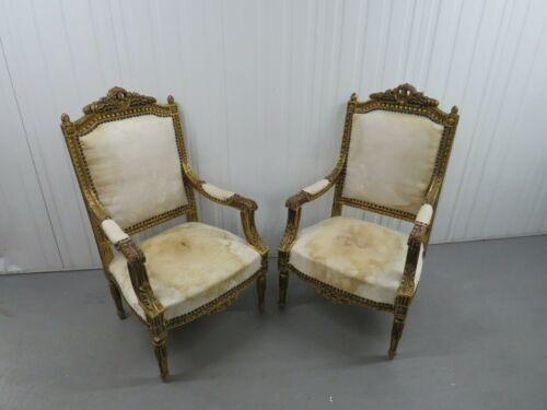 Pair of Antique French Gold Gilt Upholstered Armchairs 1880-1890