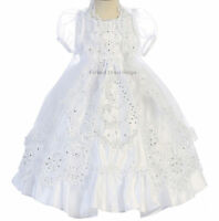 Our Lady Of Guadalupe Little Girls Baptism White Dress & Cape Christening Gowns