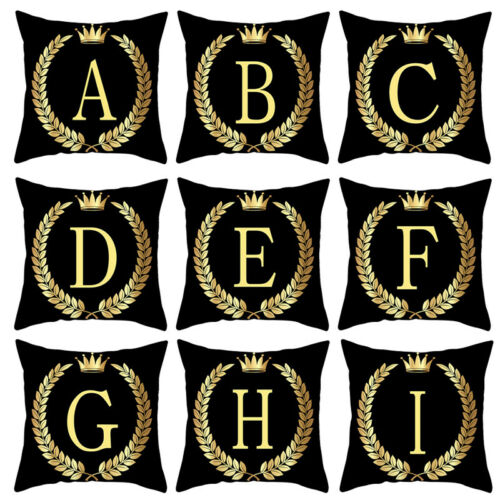 Black Gold Letter A-Z Pillowcase Sofa Cushion Cover Pillow Cover Home Decor UK