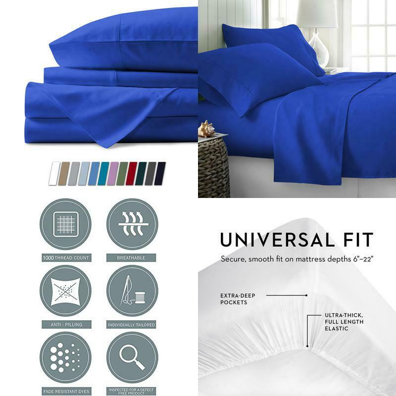 1000 Thread Count Best Bed Sheets 100% Egyptian Cotton Sheets Set Royal Blau