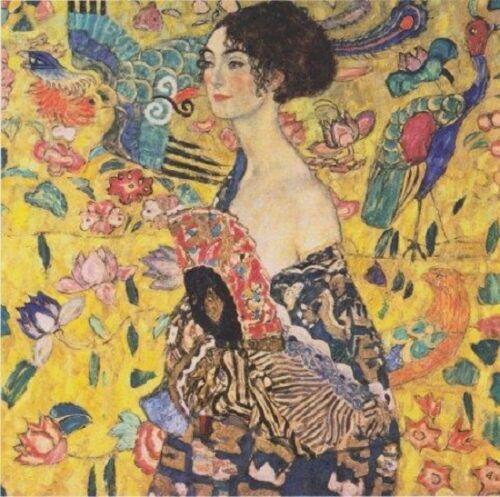Accessoires #Gustav Klimt Dame mit Fächer 100x100 cm Art Collection Schal Tuch