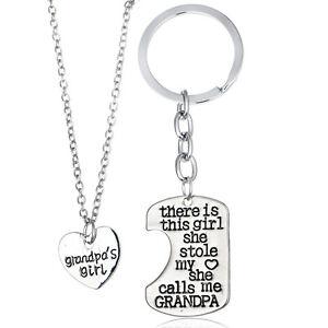 Pendant-Necklace-Set-Grandpa-Girl-Granddaughter-Gifts-New-2PCs-Keyring-Keychain
