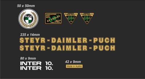 STEYR-DAIMLER-PUCH INTER 10 FRAME DECAL SET GOLD