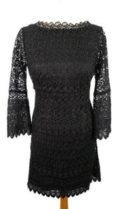 Coast-Size-8-Black-Scooped-Back-Lace-Cut-Out-Dress-Party-Occasion-Evening-Xmas