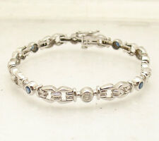 "7"" Natural Genuine Diamond & Blue Sapphire Bracelet Real Solid 14K White Gold"