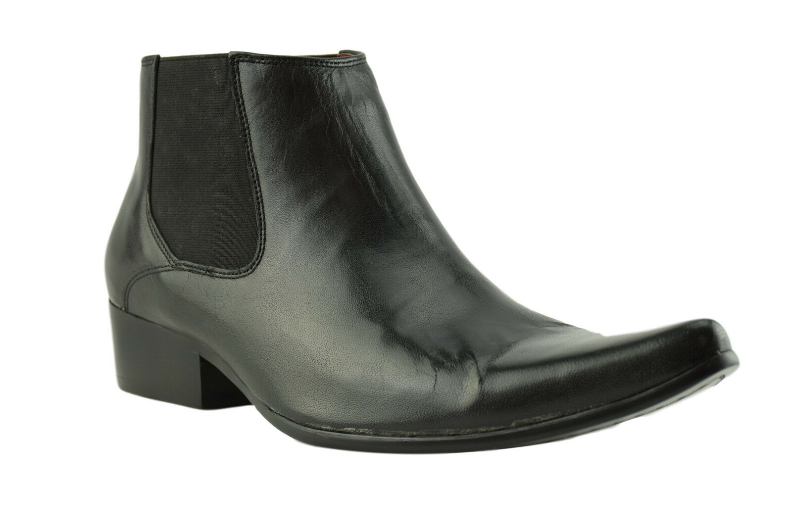 Paolo Vandini Black Leather Men'S Winklepicker Chelsea Boots Pointed Ankle Boot