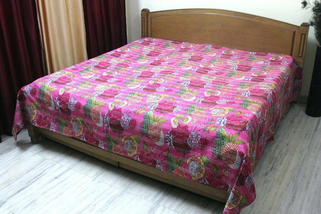 Indian Quilt Queen Cotton Printed Bedding  Tropical Fruit Kantha Quilts