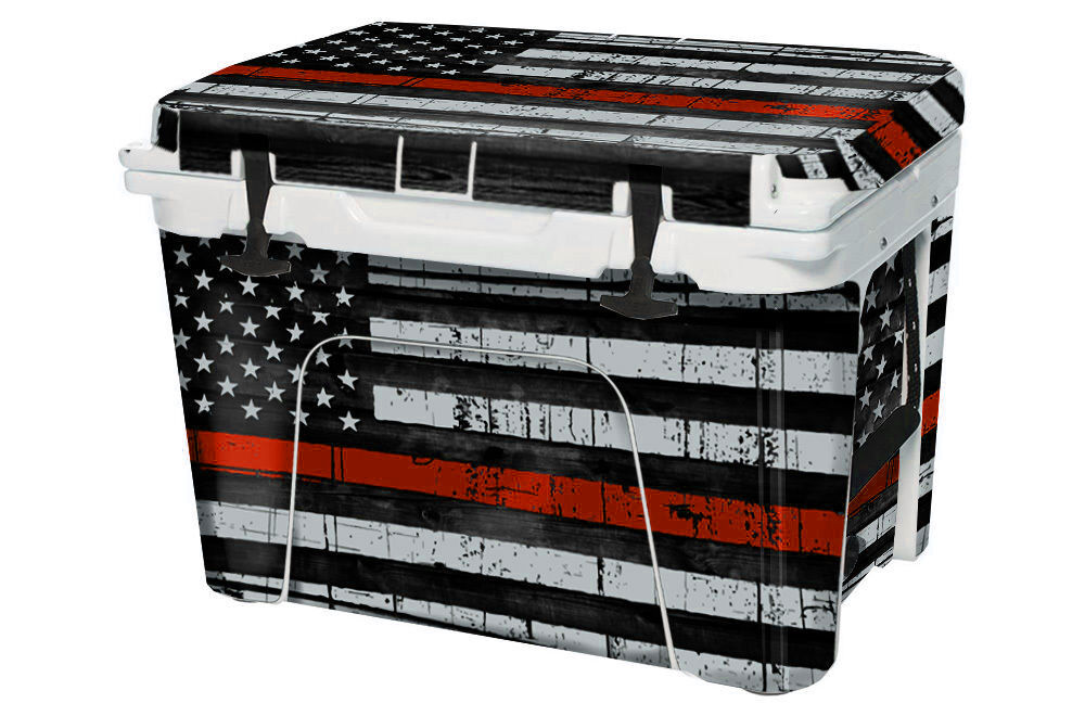 USATuff Wrat Decal Full Kit passar Egen YETI Tundra 45qt Cooler USA röd Line Flg