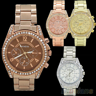 Women Charming Geneva Bling Crystal Stainless Steel Analog Quartz Wrist Watch