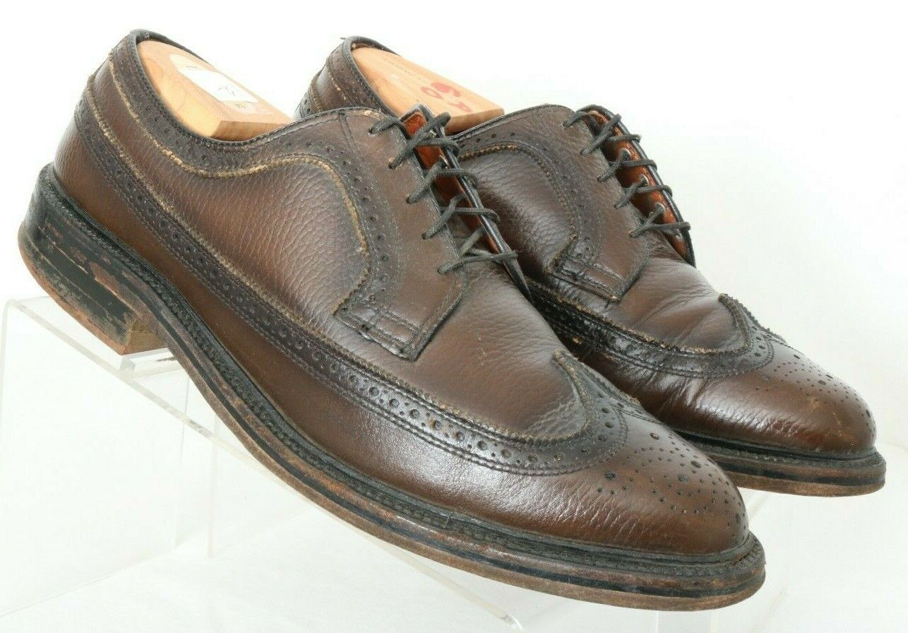 Robinson's 71066 Executives Vtg Wing Tip Brown V-Cleat Dress Oxfords Men's US 11