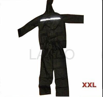 Leale Rain Suit Set Nero Cappuccio Con Corda Collo Cerniera Anteriore Doppia Tasca-mostra Il Titolo Originale Vivace E Grande Nello Stile
