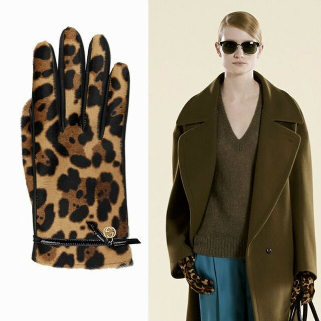 f590e7fc8eca BNWT Beautiful Designer GUCCI Ladies Fur   Leather Gloves Size 7-1 2 ...