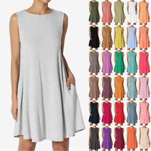 TheMogan-S-3X-Basic-Crew-Neck-Sleevelesss-Pocket-Swing-Flare-Tunic-Long-Tank-Top