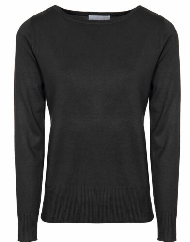 Womens Slash Neck Jumpers Plain Fine Knit Boat Neck Sweater By Brody /& Co.