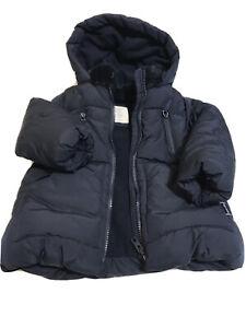 NWOT Zara Baby Girl Puffer Jacket Fur Trim Hood Navy Blue ...