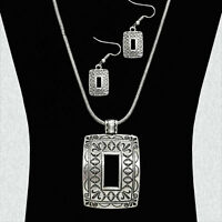Square Carved Concho Burnished Silver Metal Snake Chain Necklace Set