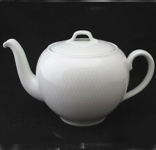 Royal Copenhagen Wheat Teapot with Lid All White Embossed Textured Five Cup