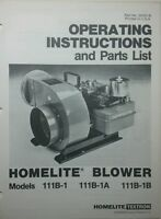 Homelite Blower Gas, Pto & Electric Owner & Parts (3 Manuals) 8pg Construction