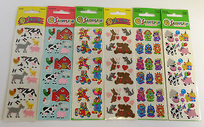 Stickers 12 Sheets Barn Farm Animals Clowns Balloons Fuzzy Prismatic Hearts Mice