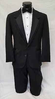 46 R Oscar de la Renta Mens Black Tuxedo Notch Jacket Prom Wedding Costume Coat