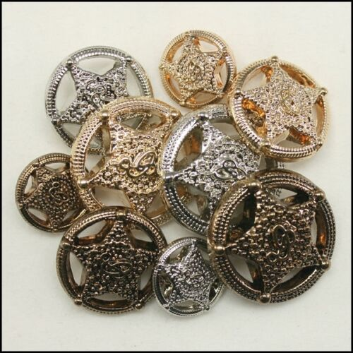12 x Military Shield Star Unique buttons Arms Royal Palace 15mm 21mm 25mm Shank